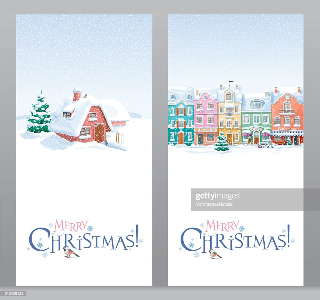 Winter landscape greeting Christmas cards set