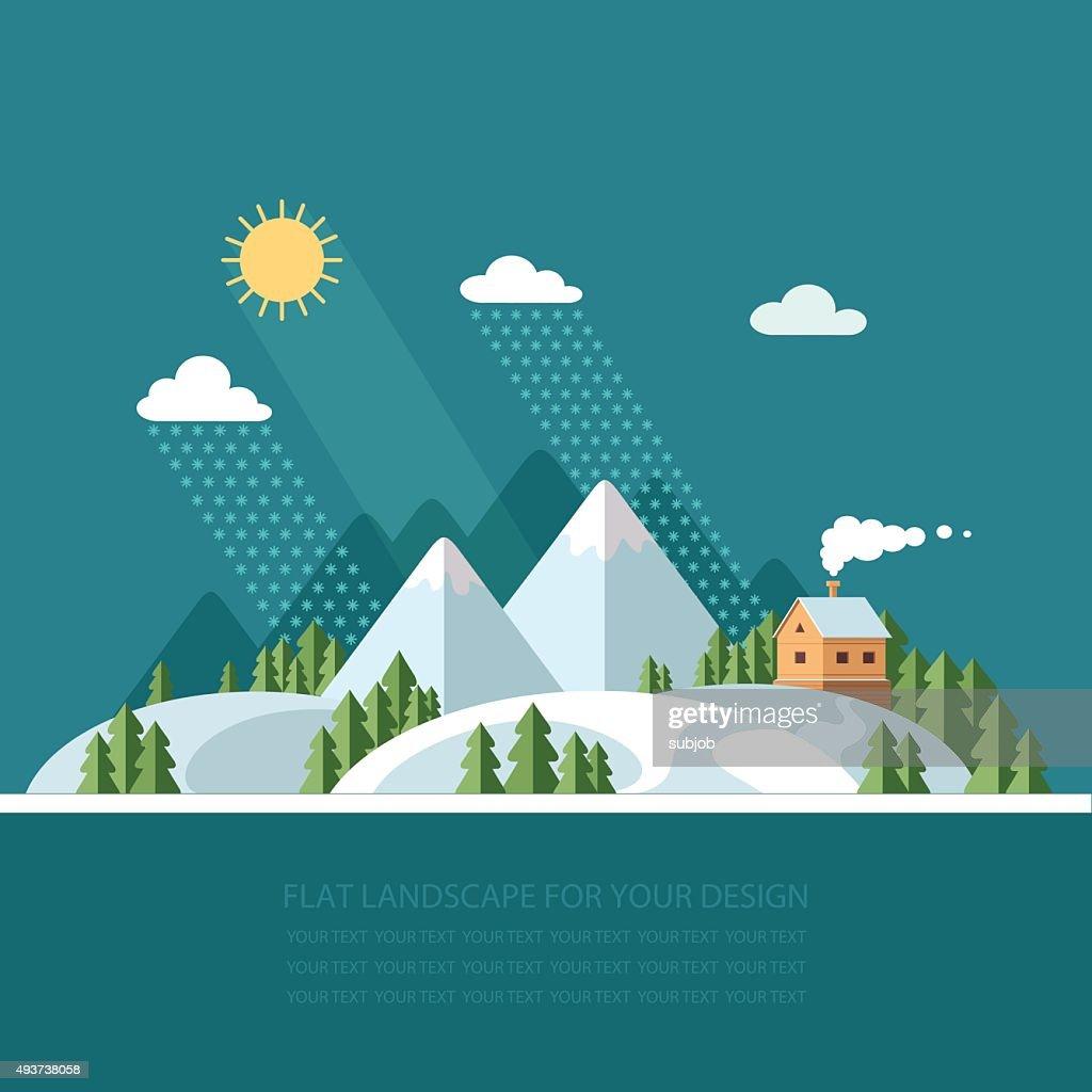 Winter landscape mountains snow-capped hills. flat vector illustration