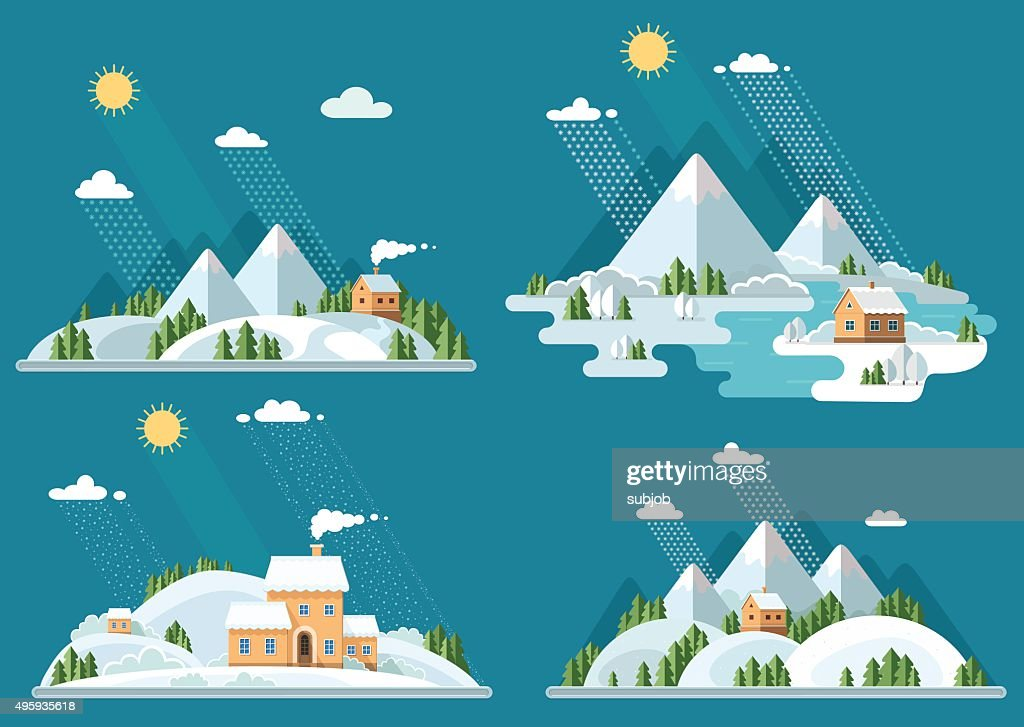 Winter landscape mountains snow-capped hills set icons. flat vector illustration