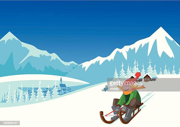 winter landscape - tobogganing stock illustrations, clip art, cartoons, & icons