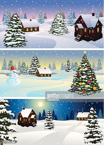 illustrations, cliparts, dessins animés et icônes de paysage hivernal - village