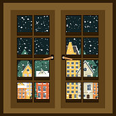 Winter landscape. View from the window. New Year poster. Winter in village. Flat vector illustration