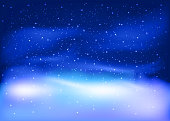Winter landscape with Falling snow. Christmas and New Year Background. Vector illustration.