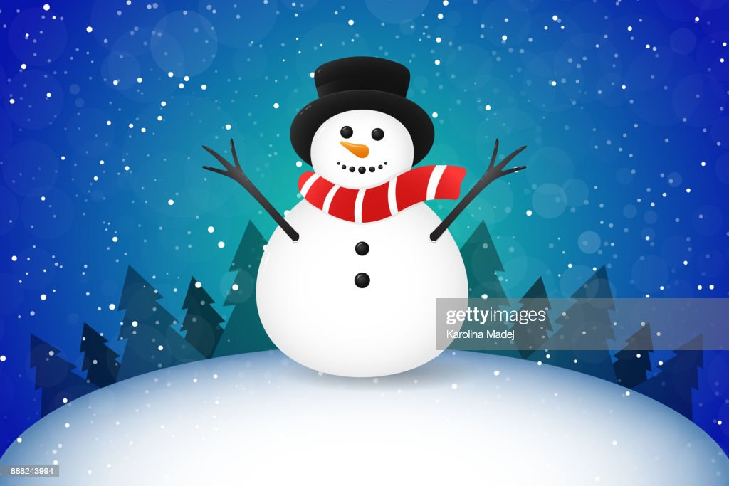 Winter landscape with funny Snowman, Christmas trees and snow. Vector.