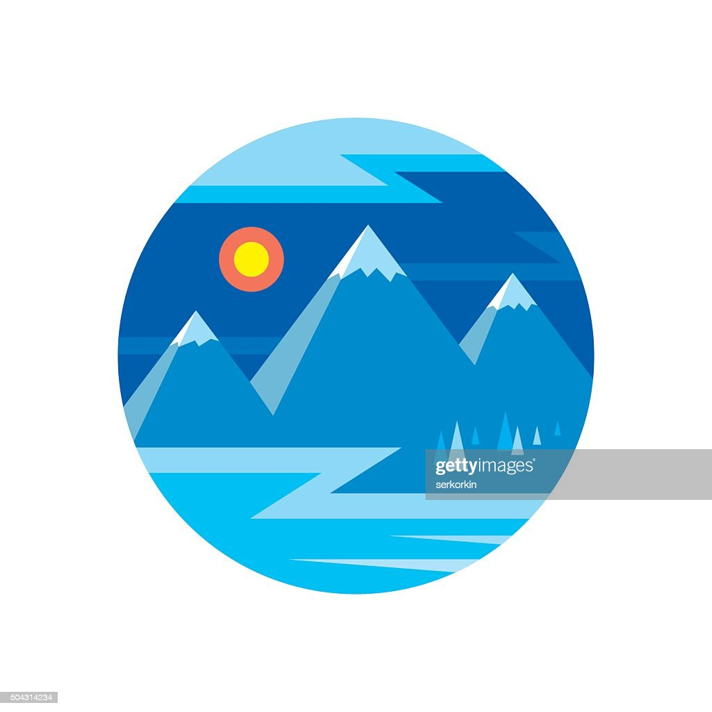 Winter landscape with mountains vector illustration in flat style design