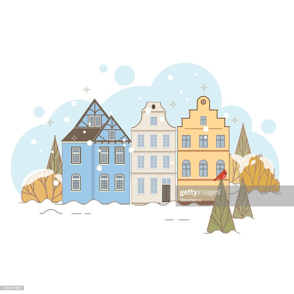 Winter Landscape With Old Houses : Vector Art