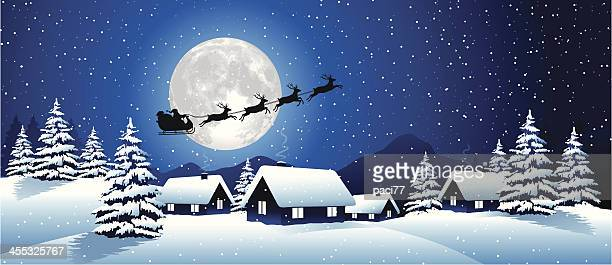 winter landscape with santa claus - santa claus stock illustrations