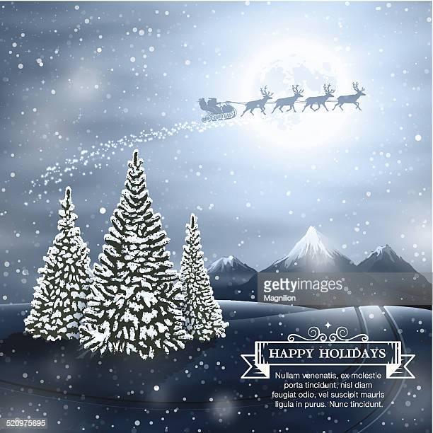 冬の風景、サンタクロース - サンタ ソリ点のイラスト素材/クリップアート素材/マンガ素材/アイコン素材