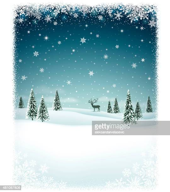 winter landscape with snow covered trees - non urban scene stock illustrations