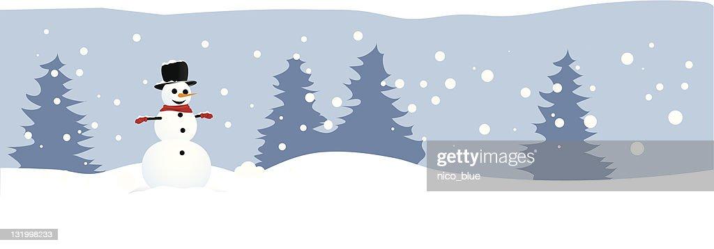 Winter landscape with snowman : stock illustration