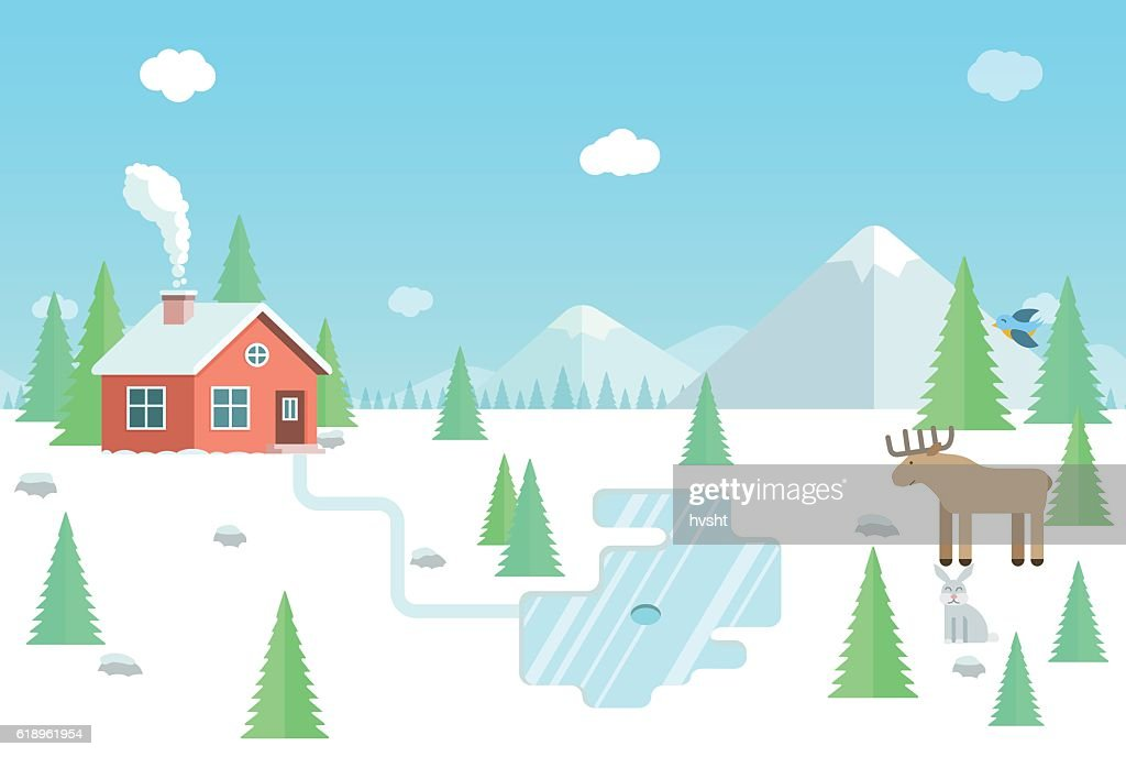 Winter landscape with wild animals, forest house and mountains