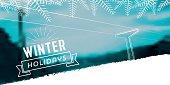 winter line illustration on snowy blurred landscape banner