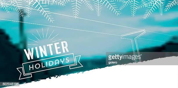illustrations, cliparts, dessins animés et icônes de illustration de la ligne d'hiver neigeux floue paysage bannière - ski alpin