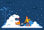 Winter Man Digs Car Out of Snow Background Flat Design
