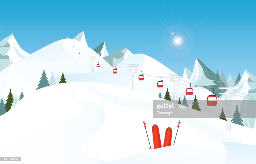Winter mountain landscape with pair of skis in snow and ski lift.