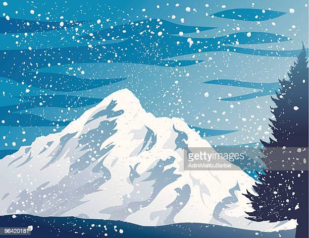 winter mountains - blizzard stock illustrations
