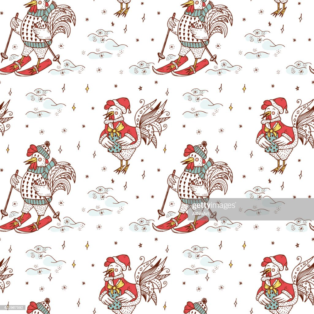winter new year background cute cartoon roosters vector seamless pattern vector art