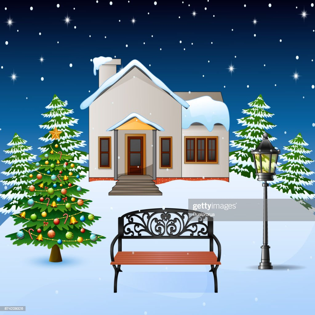 Winter night background with house, wood bench and christmas tree on the snow hills