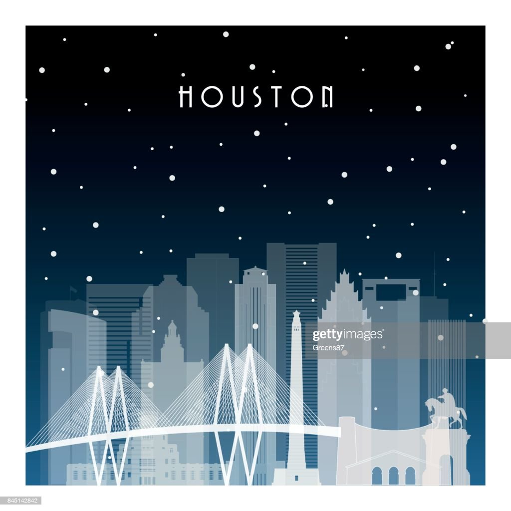 Winter night in Houston. Night city in flat style for banner, poster, illustration, game, background.