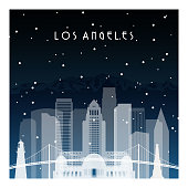 Winter night in Los Angeles. Night city in flat style for banner, poster, illustration, background.