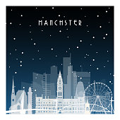 Winter night in Manchester. Night city in flat style for banner, poster, illustration, game, background.