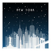 Winter night in New York. Night city in flat style for banner, poster, illustration, game, background.