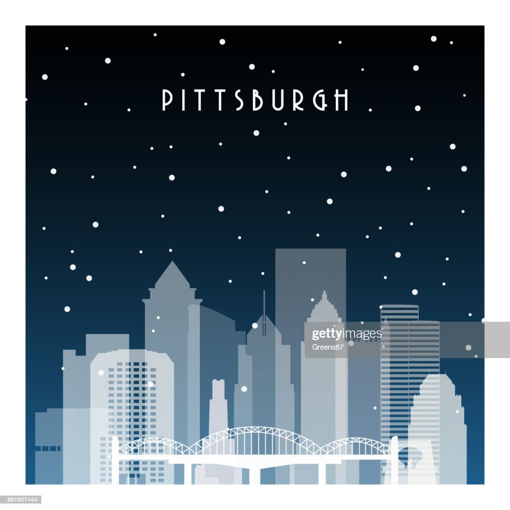Winter night in Pittsburgh. Night city in flat style for banner, poster, illustration, game, background.