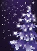 Winter night sky. snow is falling. Showfall. pine snowy tree with holiday lights