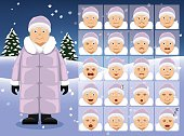 Winter Old Woman Cartoon Emotion faces Vector Illustration