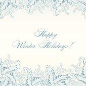 Winter Paisley Horisontal Seamless Pattern