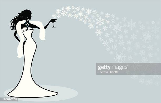 winter party girl - shawl stock illustrations