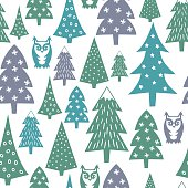 Winter pattern - varied Xmas trees, owls and snowflakes