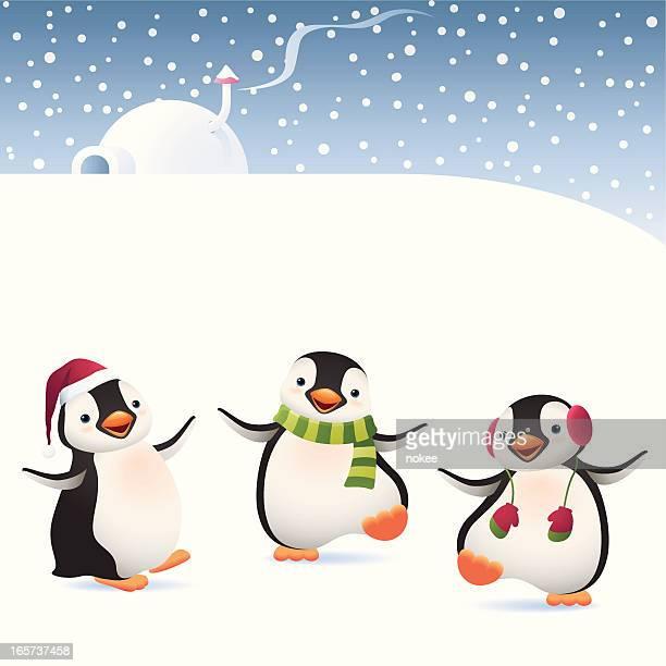illustrations, cliparts, dessins animés et icônes de hiver penguins de - igloo