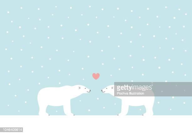 illustrations, cliparts, dessins animés et icônes de l'ours blanc hiver vector illustration - ours polaire