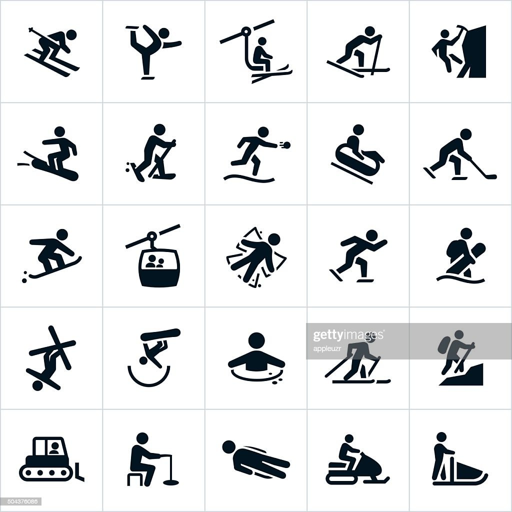 Winter Recreation Activities Icons