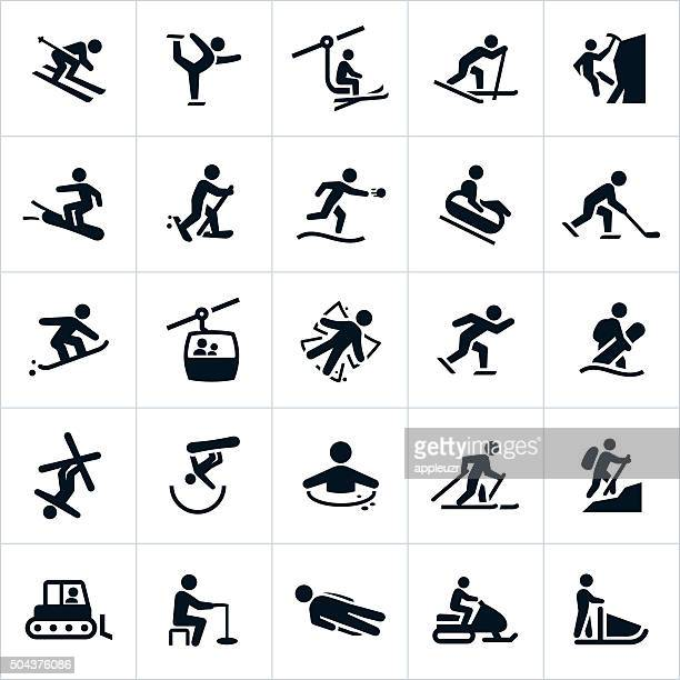winter recreation activities icons - tobogganing stock illustrations, clip art, cartoons, & icons