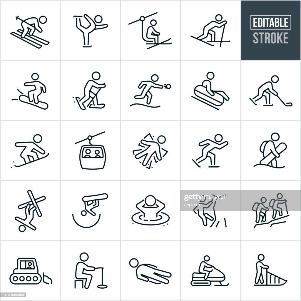 Iconos de línea delgada de recreación de invierno - Trazo editable : Ilustración de stock