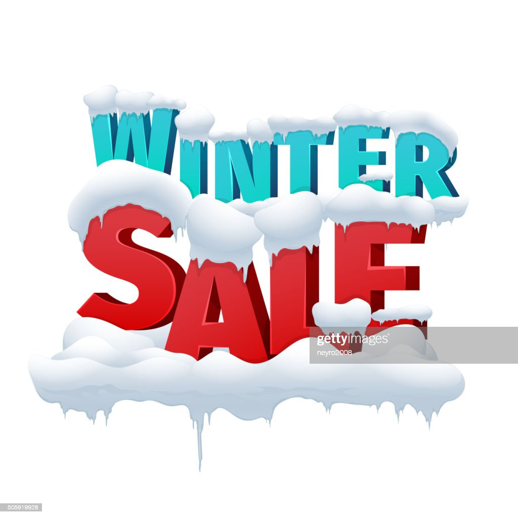 Winter sale 3d vector inscription on white background
