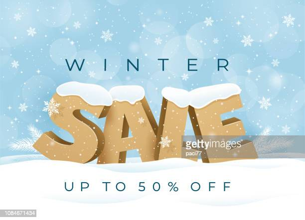 winter sale background special offer with snowflakes. - winter stock illustrations