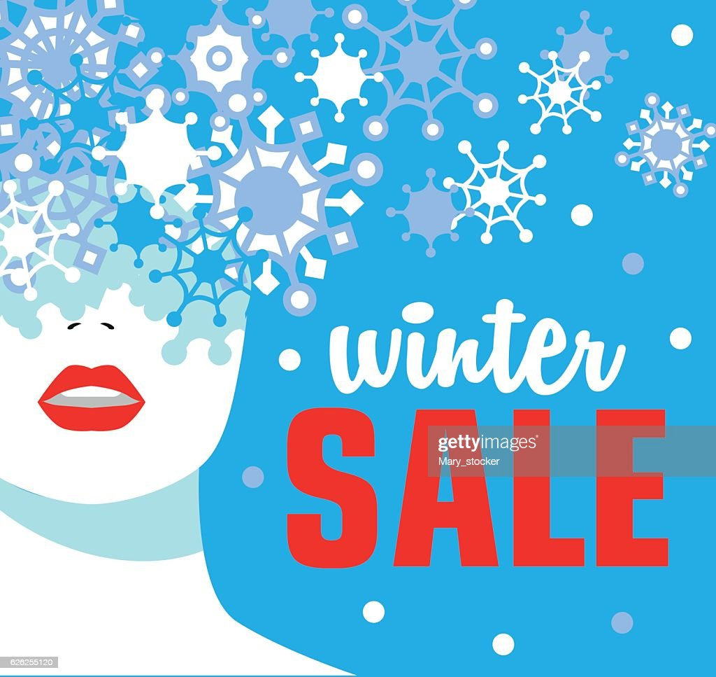 Winter sale. Banner. Fashion girl with snowflakes. Bold, minimal style