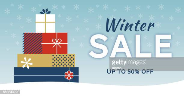 winter sale banner - funny birthday stock illustrations