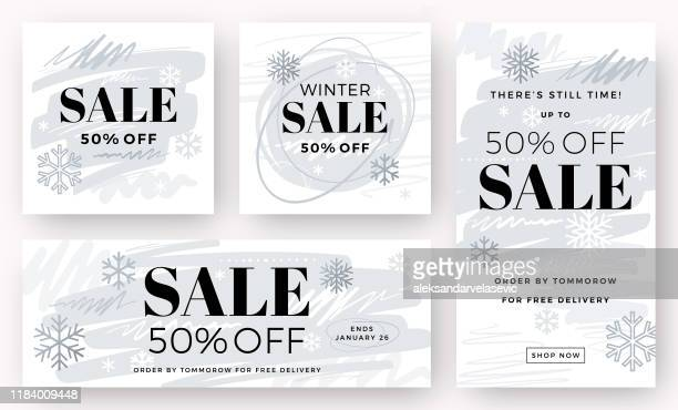winter sale banners - winter stock illustrations