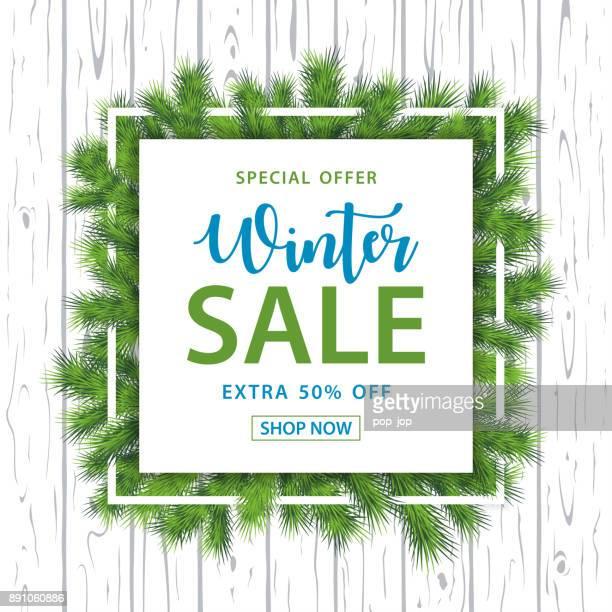 Winter Sale Filialen Square Hintergrund - Vektor