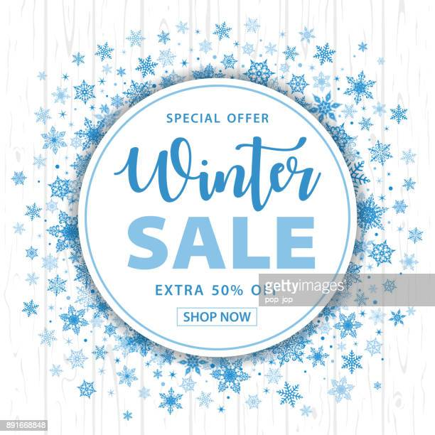 Winter Sale Christmas Snowflakes Round Background - Vector