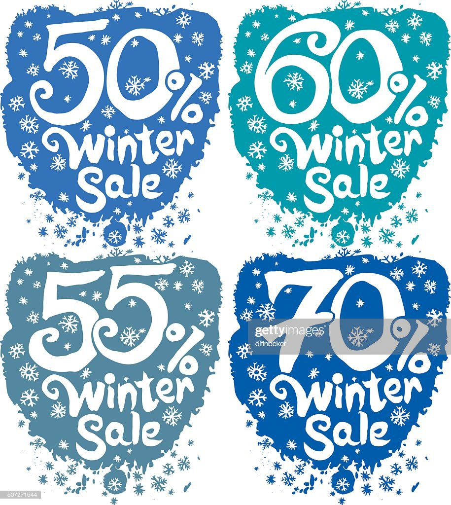 Winter sale. Concept vector set.