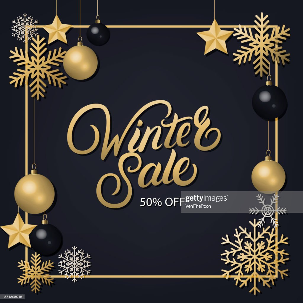 Winter Sale hand written lettering with golden decoration ornament.