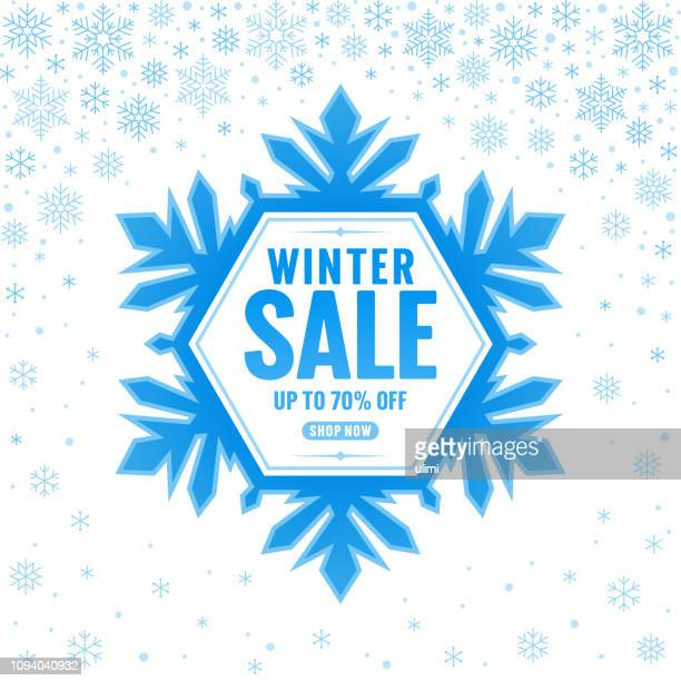 winter sale, snowflake frame with text - december stock illustrations