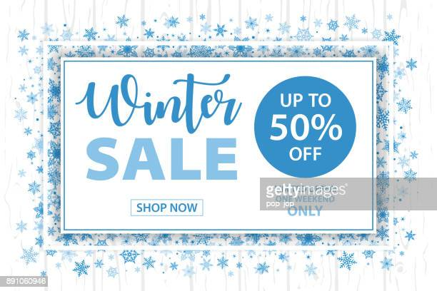 Winter Sale Snowflakes Horizontal Background - Vector