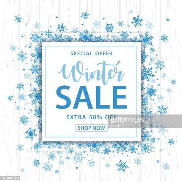 Winter Sale Snowflakes Square Background - Vector