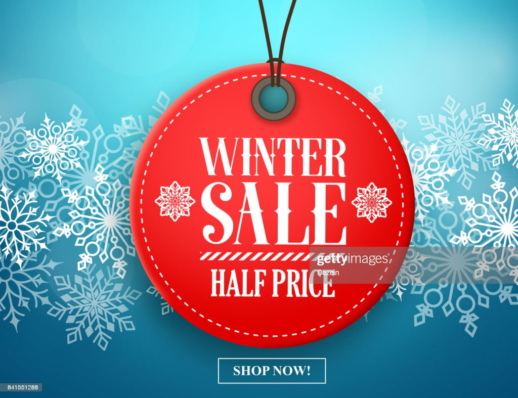 Winter sale tag vector banner. Red sale tag in snow